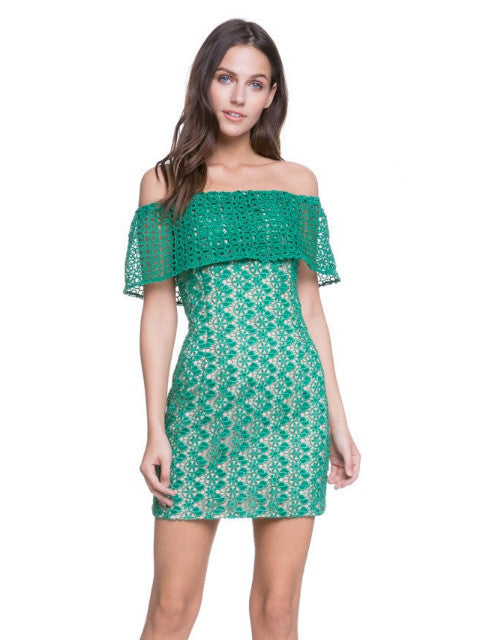 Endless Rose Green Lace Off The Shoulder Dress Petite