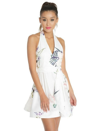 Floral halter dress white