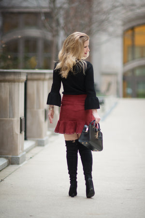 Petite Suede Skirt with Bead Detail