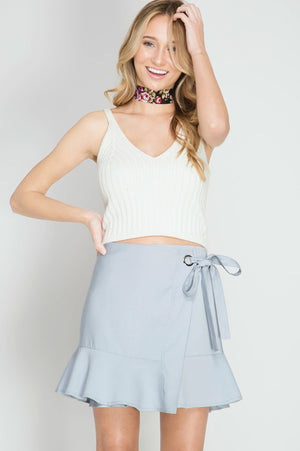 Blue Mini Wrap Skirt