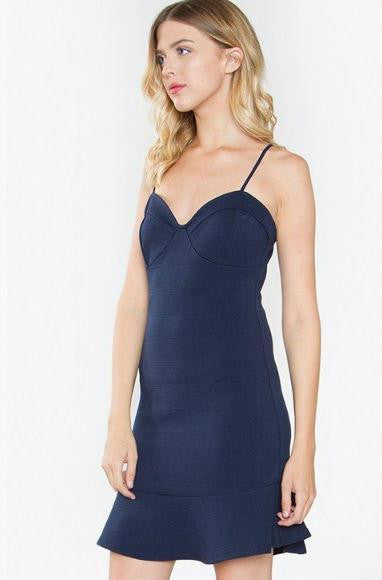 Navy bustier flounce bodycon dress