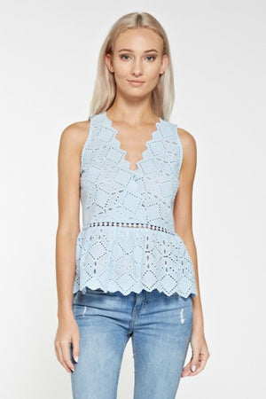 Light blue eyelet top