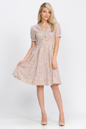 Eleanor Petite Fit & Flare Dress (Mauve Floral)