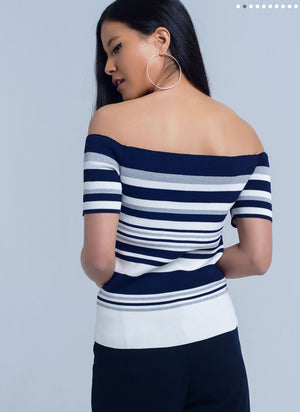 Petite Navy and White Stripe Off the Shoulder Sweater