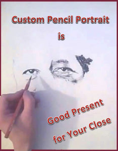 Custom pencil drawing on paper portrait from your photo