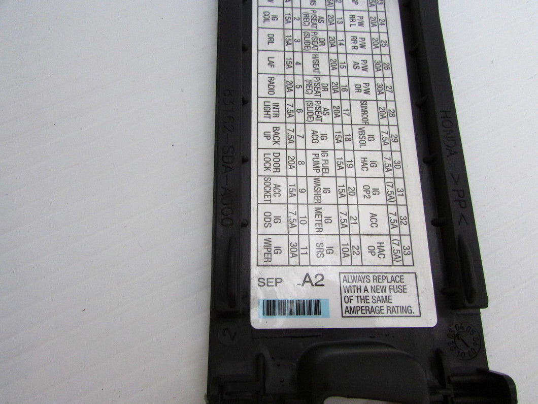 ... 04 05 06 07 08 Acura TL Left Front Pull Fuse Box Door Cover Kick Panel  ...