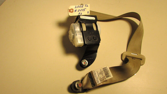 04 05 06 07 08 Acura TL RIGHT REAR SEAT BELT RETRACTOR BACK BEIGE OEM A3