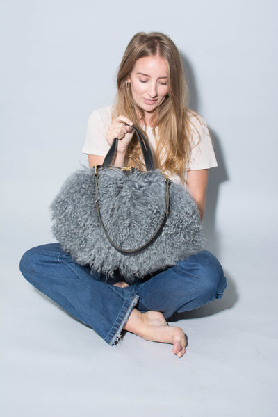 Katie XL Shoulder Bag: Mongolian Sheepskin Blue