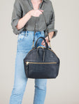 Anni Large Shoulder Bag: Croc Embossed Black Front Zip