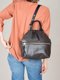 Anni Large Shoulder Bag: Steel Front Zip