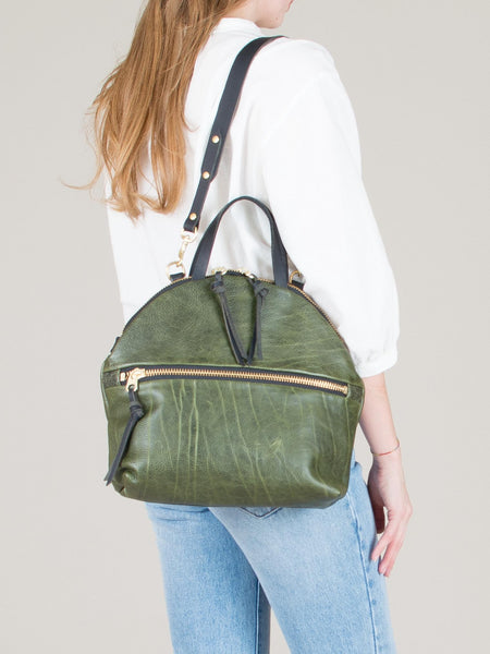 Anni Large Shoulder Bag: Olive Front Zip