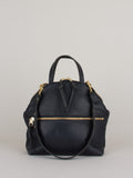 Anni Large Shoulder Bag: Black Front Zip