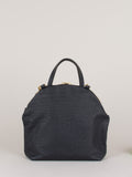 Anni Large Shoulder Bag: Croc Embossed Black