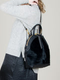Anni Large Shoulder Bag: Black Fur