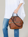Anni Large Shoulder Bag: Bronze Front Zip