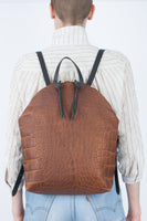 Anni Large Backpack: Croc Embossed Bronze