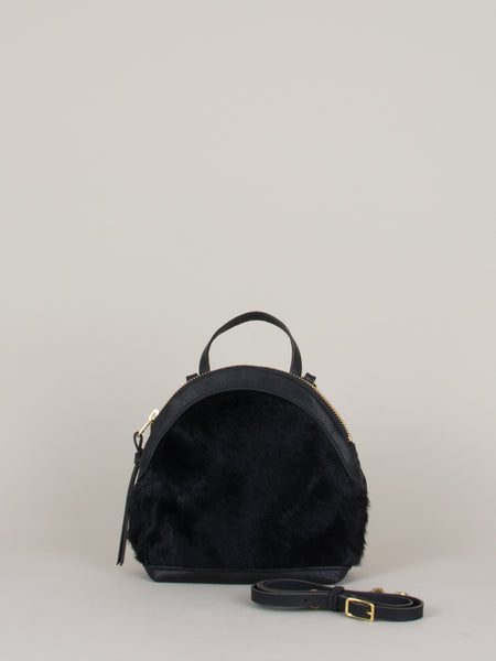 Anni Mini Shoulder Bag: Black Fur