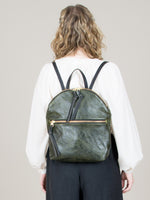 Anni Large Backpack: Olive Front Zip