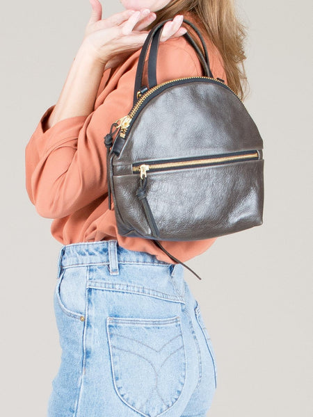 Anni Mini Shoulder Bag: Steel Front Zip