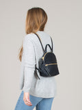 Anni Mini Backpack: Black Front Zip