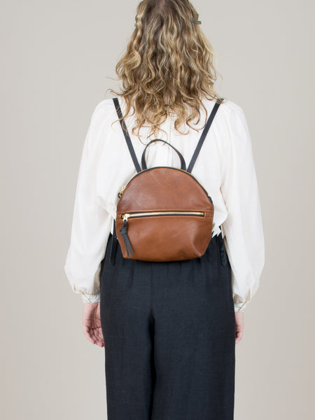Anni Mini Backpack: Bronze Front Zip