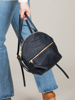 Anni Mini Backpack: Black Croc Embossed Front Zip
