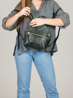 Anni Mini Backpack: Olive Front Zip