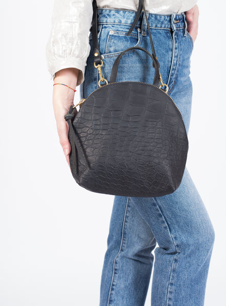Anni Mini Shoulder Bag: Black Croc Embossed