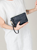 Hanna Mini Clutch: Croc Embossed Black