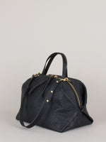 Katie XL Shoulder Bag: Croc Embossed - Black
