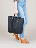 Romy Tote: Black Croc Embossed