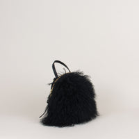 Anni Mini Shoulder Bag: Black Mongolian Sheepskin