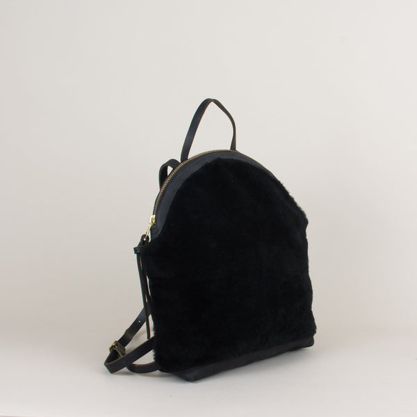Anni Large Backpack: Black Shearling