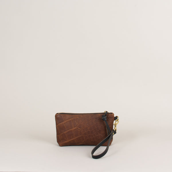 Hanna Mini Clutch: Croc Embossed Bronze