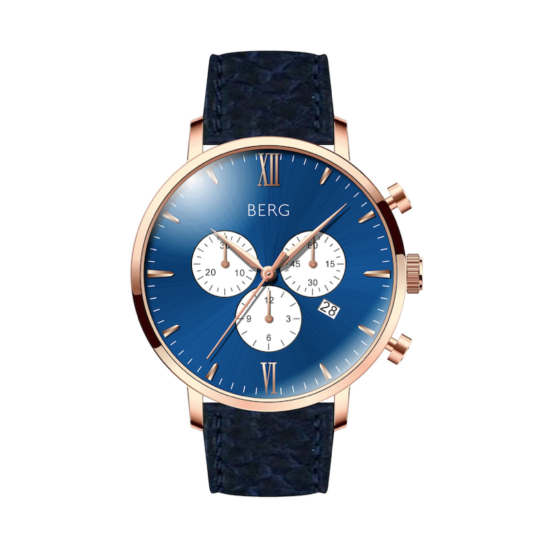 BIRKEBEINER 42 MM BLUE ROSE GOLD