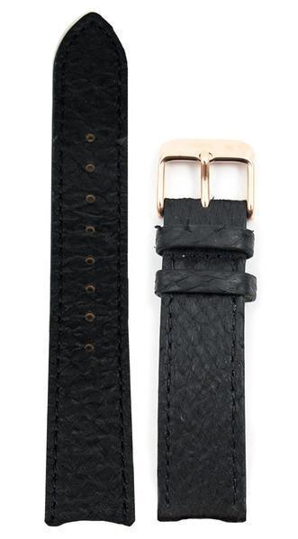 bergwatches 16 MM Strap Black Rose Gold 16 MM Salmon Leather Strap
