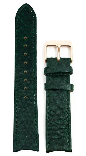 bergwatches 16 MM Strap Green Rose Gold 16 MM Salmon Leather Strap