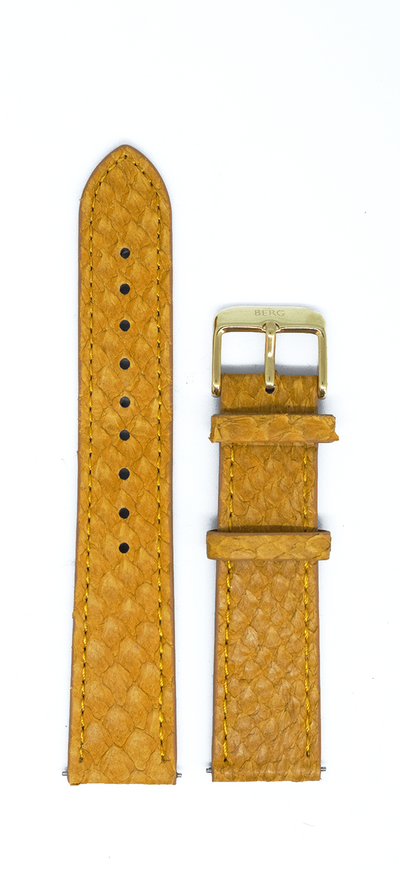 bergwatches 16 MM Strap Mustard Gold 16 MM Salmon Leather Strap