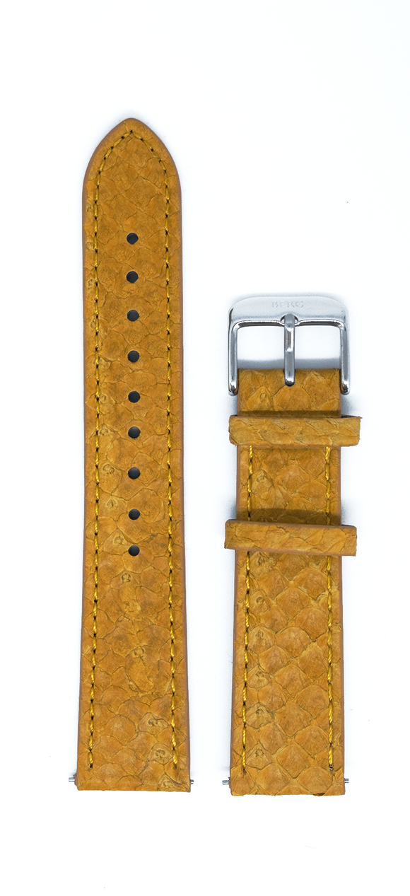 bergwatches 16 MM Strap Mustard Silver 16 MM Salmon Leather Strap