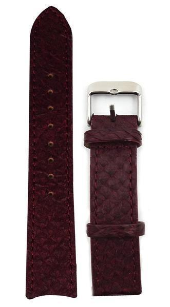 bergwatches 16 MM Strap Oxblood Red Silver 16 MM Salmon Leather Strap