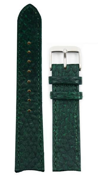 bergwatches 20 MM Strap Green Silver 16 MM Salmon Leather Strap