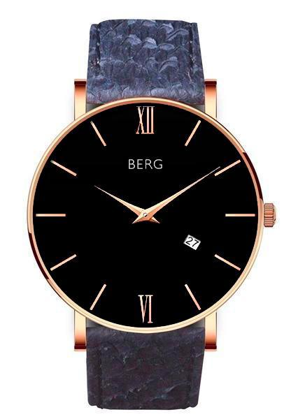 bergwatches Mens watches Blue Ulriken Black Rose Gold 40 MM