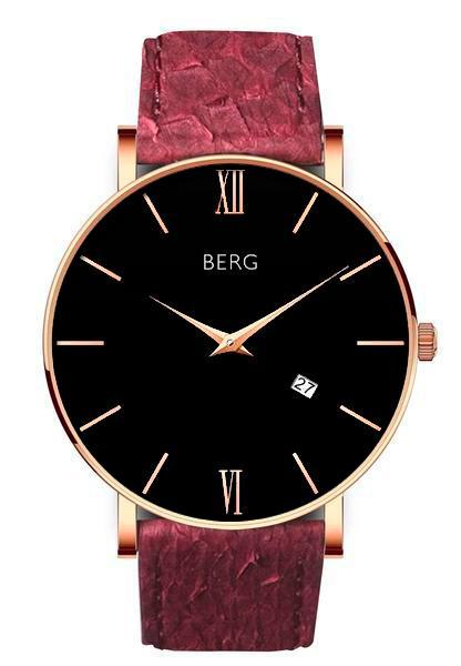 bergwatches Mens watches Oxblood Red Ulriken Black Rose Gold 40 MM