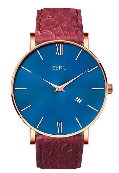 bergwatches Mens watches Oxblood Red Ulriken Blue Rose Gold 40 MM