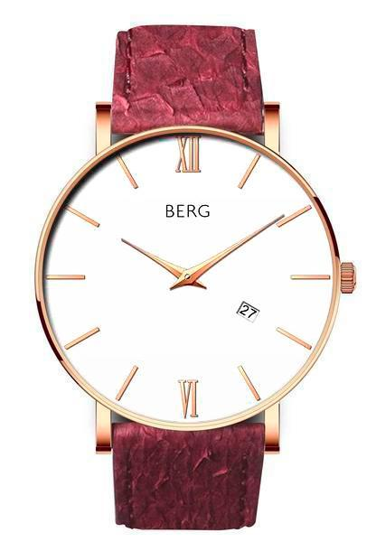 bergwatches Mens watches Oxblood Red Ulriken White Rose Gold 40 MM