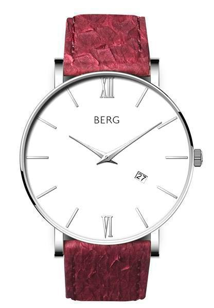 bergwatches Mens watches Oxblood Red Ulriken White Silver 40 MM