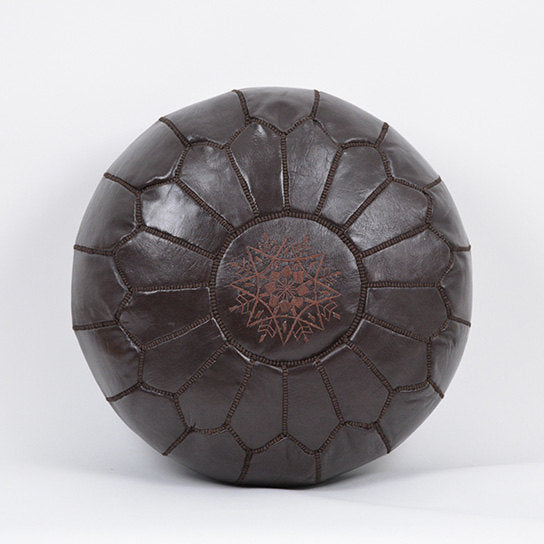 moroccan pouf - dark brown
