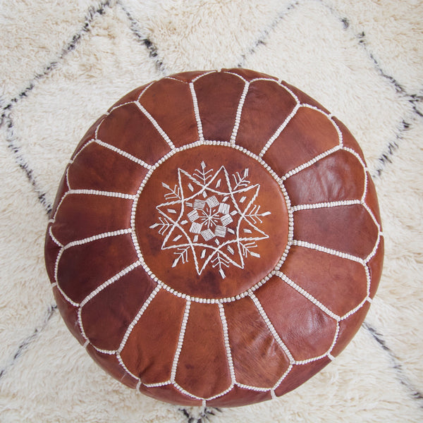 Leather Moroccan Pouf - Dark Tan