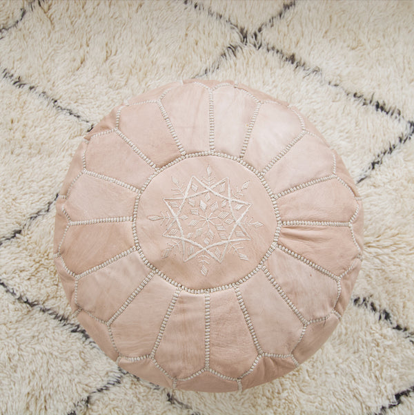 Leather Moroccan Pouf - Natural