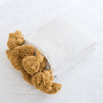 Moroccan Pom Pom Blanket - white and mustard